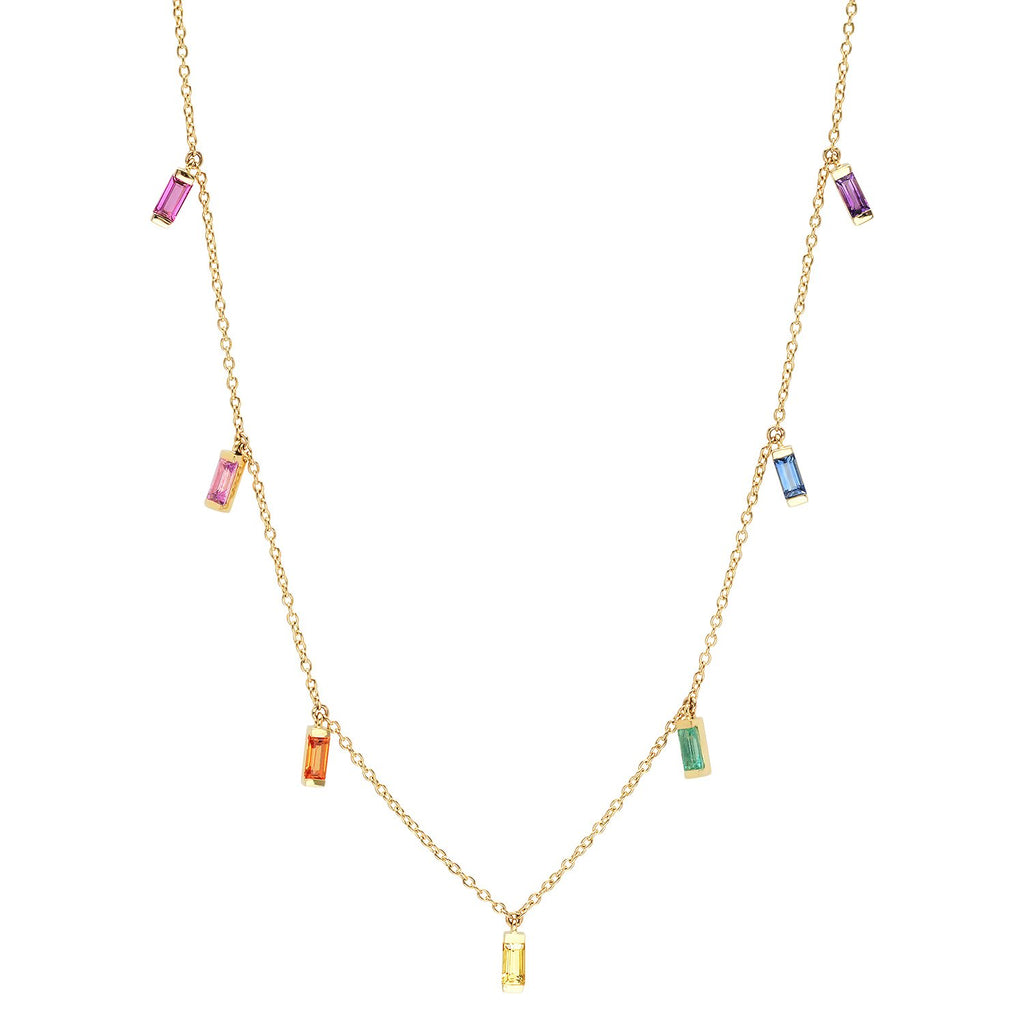 23566256cbbd52 Eriness Jewelry Rainbow Baguette Necklace