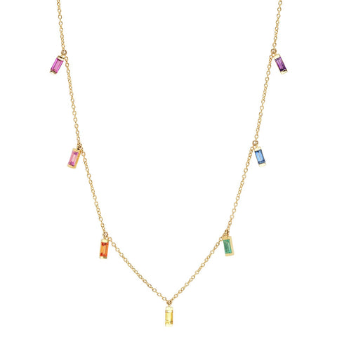 Yellow Gold Rainbow Baguette Necklace
