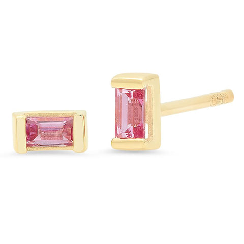 Eriness Jewelry Pink Sapphire Baguette Studs