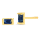 Eriness Jewelry Blue Sapphire Baguette Studs