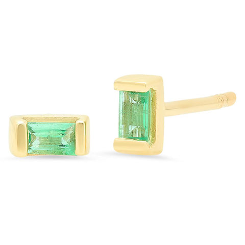Eriness Jewelry Emerald Baguette Studs