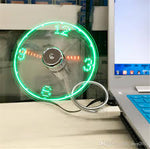 USB Mini Flexible LED Clock Fan