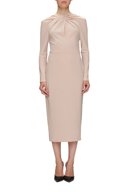 KNOT FRONT CREPE DRESS