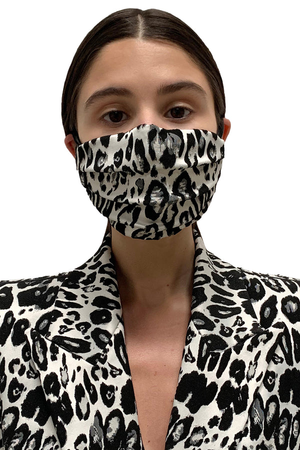 White Leopard Face Mask