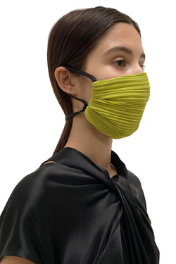 Chartreuse Pleated Face Mask