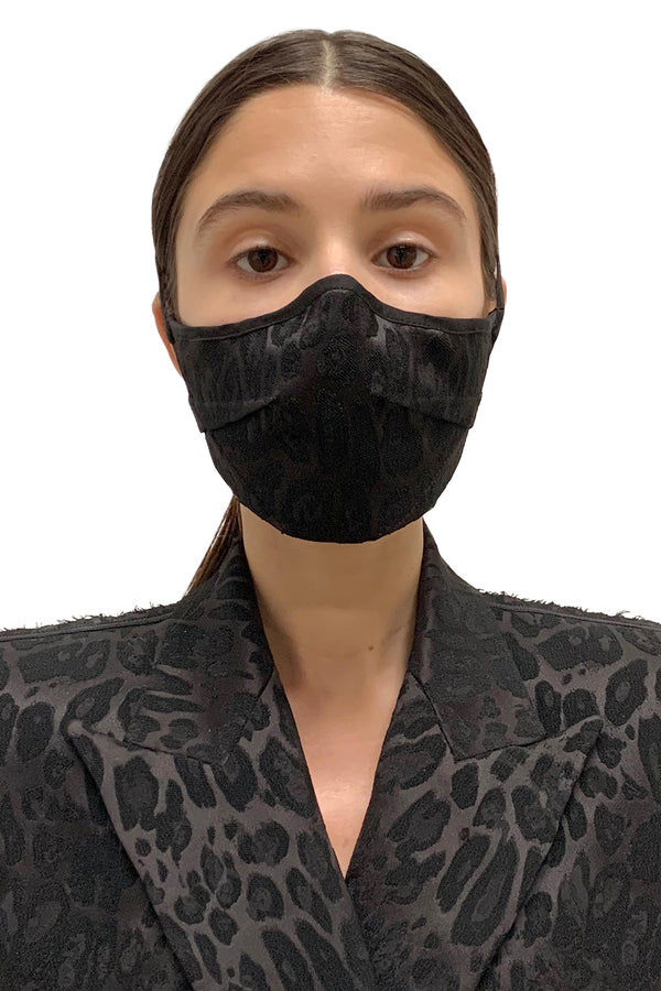 Black Leopard Darted Face Mask