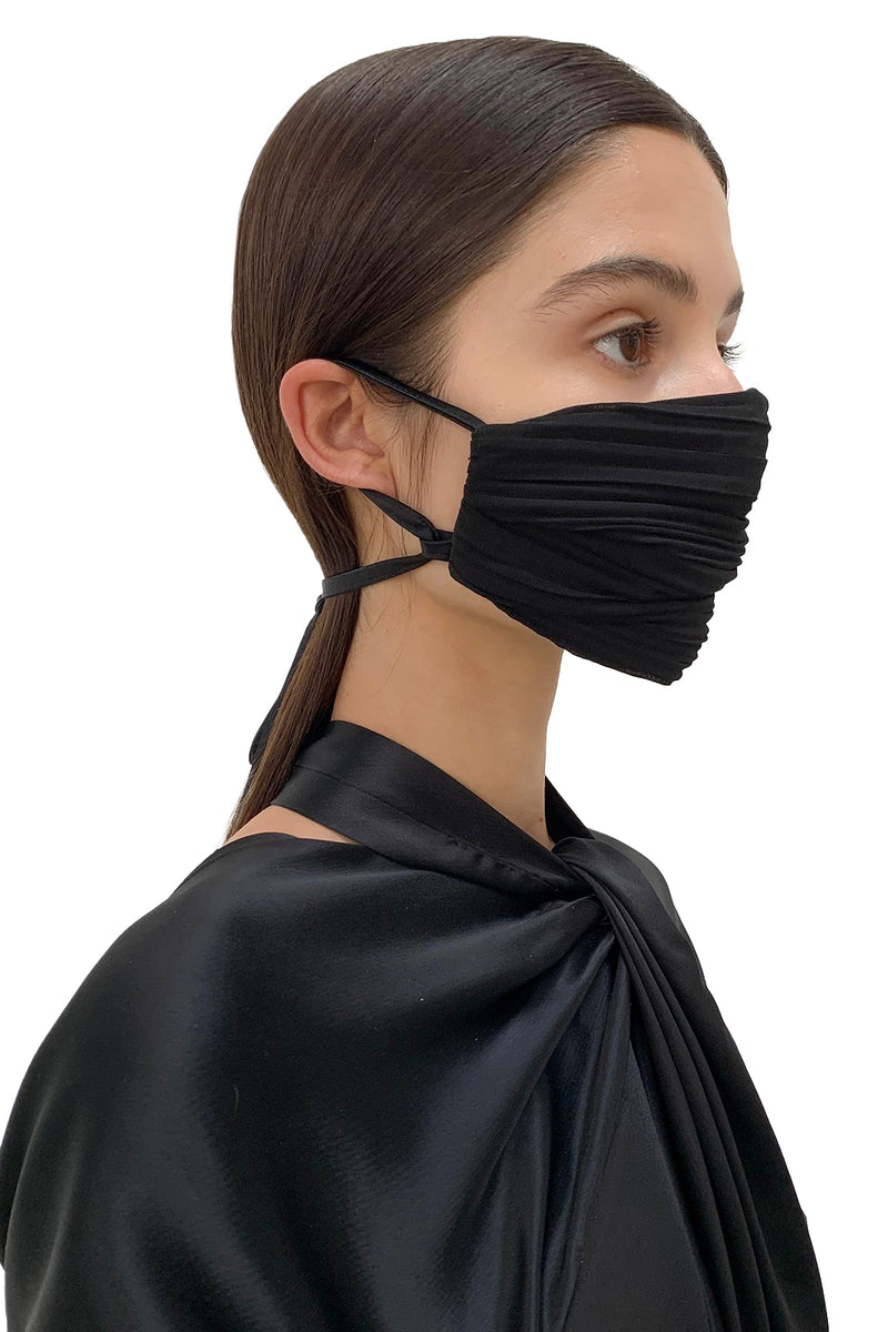 Black Pleated Face Mask