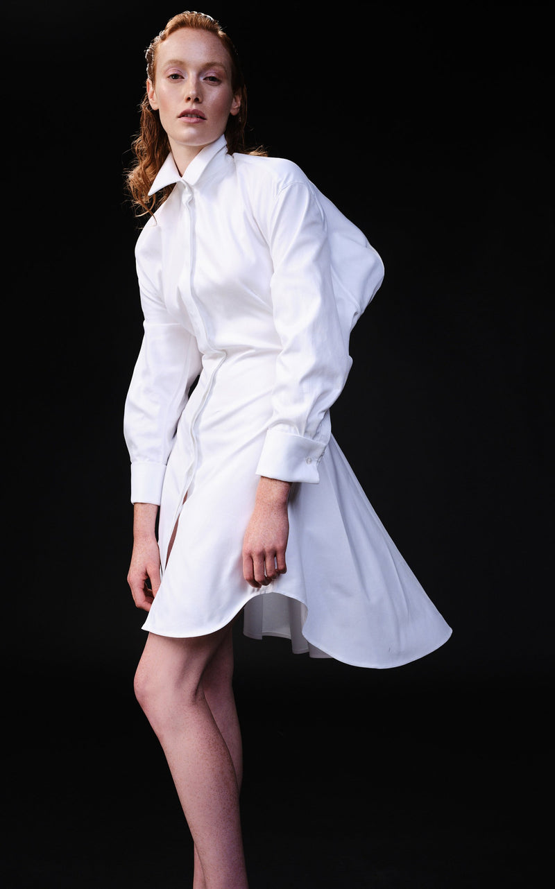OPEN BACK ASYMMETRICAL HEM SHIRT DRESS