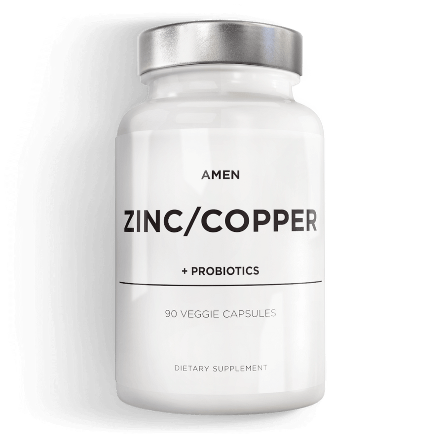 Amen Zinc Copper Supplement with Probiotics Zinc Picolinate Glycinate Chelate 2 Billion CFUs