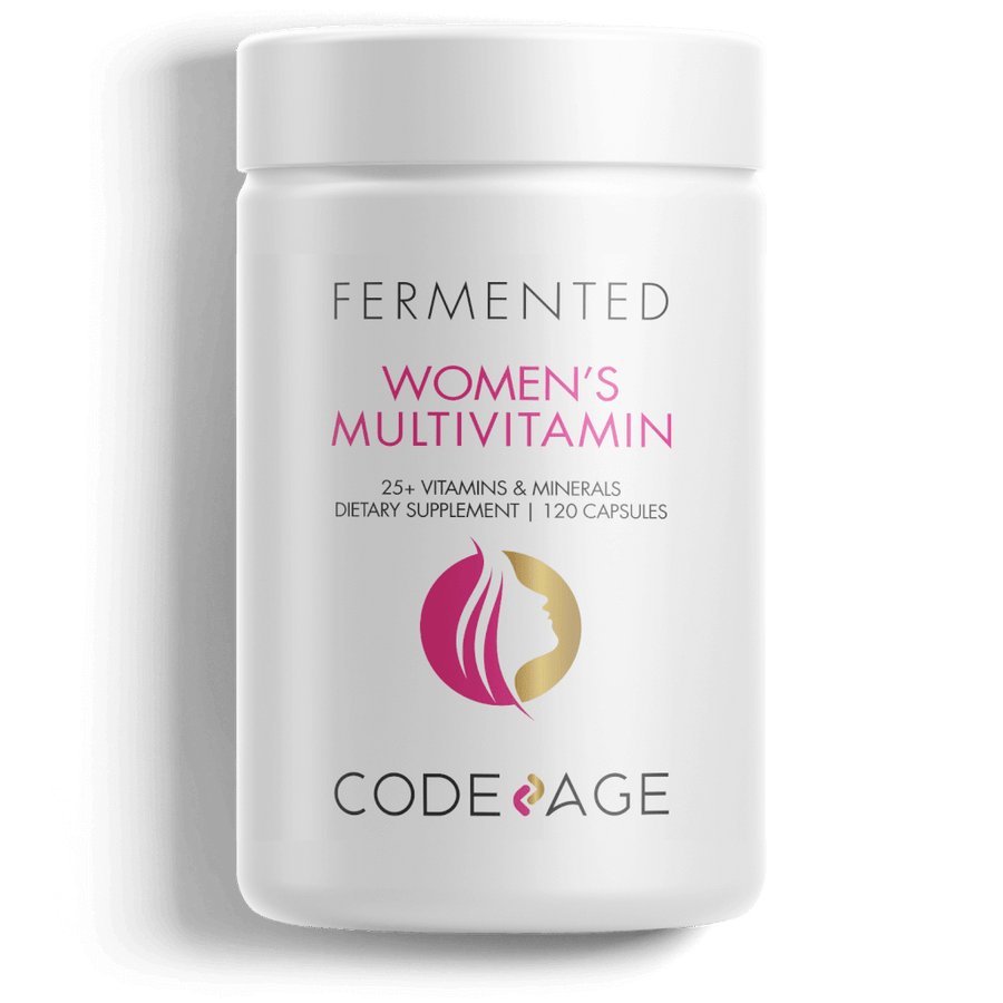 Women's Daily Multivitamin, Organic Whole Foods Vitamins, Fermented, Probiotics, Vegan