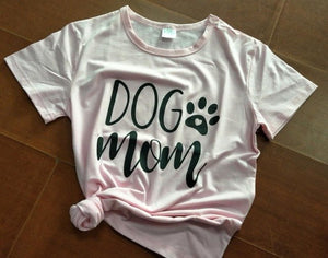 Dog Mom Tshirt with Paw Short Sleeve