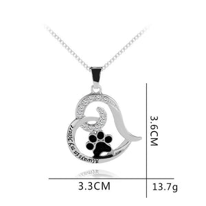 Dog Paw & Heart Pendant Necklace
