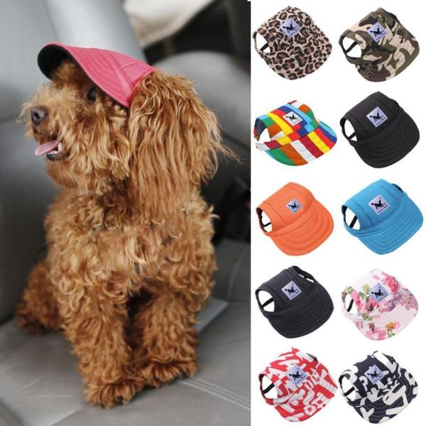 Canvas Baseball Cap/Visor for Dogs with Ear Holes & Doggy Chin Strap