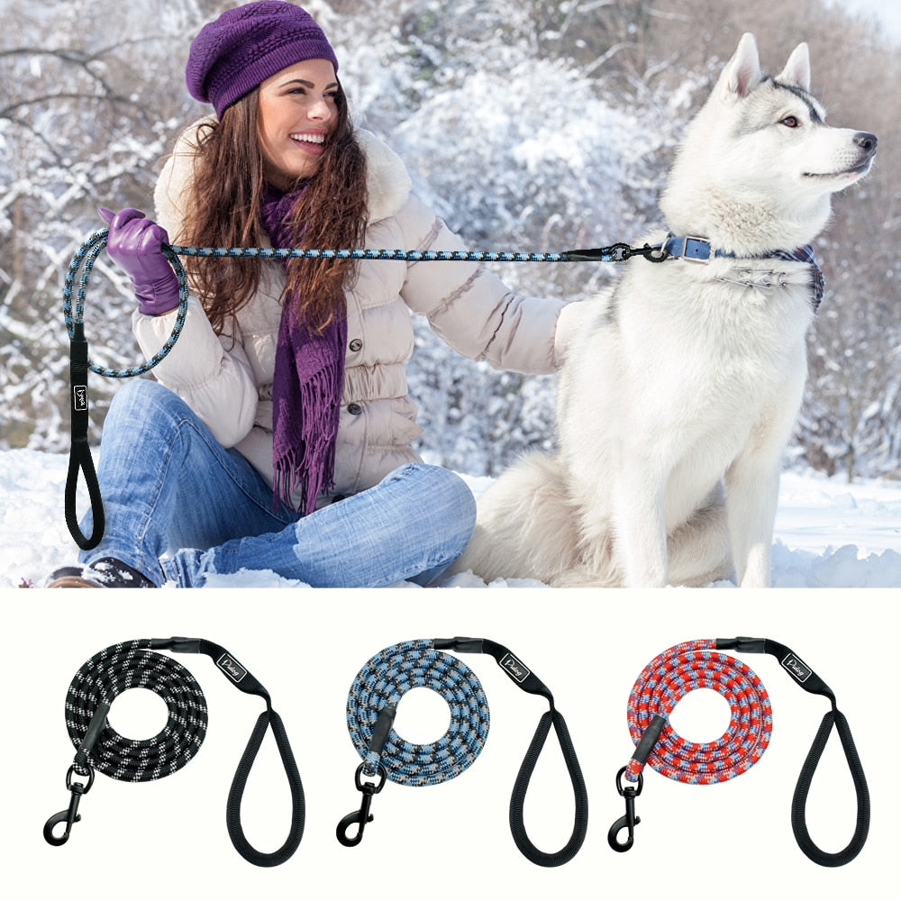Nylon Reflective Dog Leash - 6ft Long Mountain Climbing Rope Material