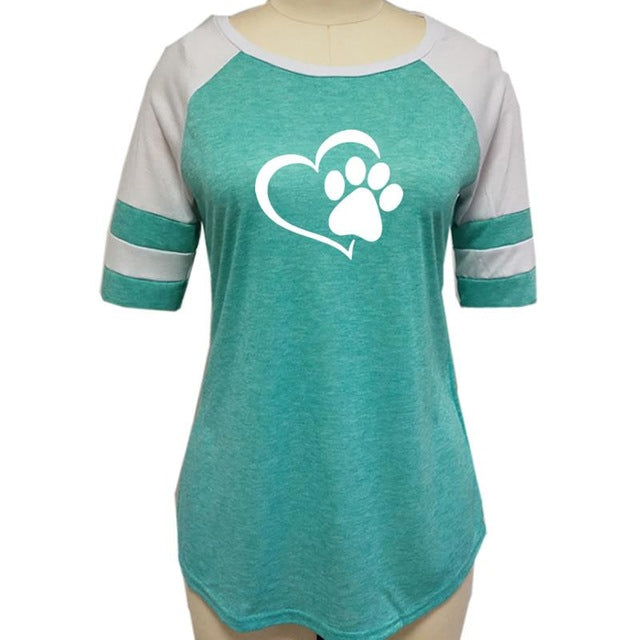 Fashion Heart Dog Paw Jersey-Shirt with O-neck