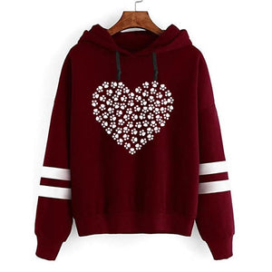 2018 New Fashion Dog Paw Heart Hoodie