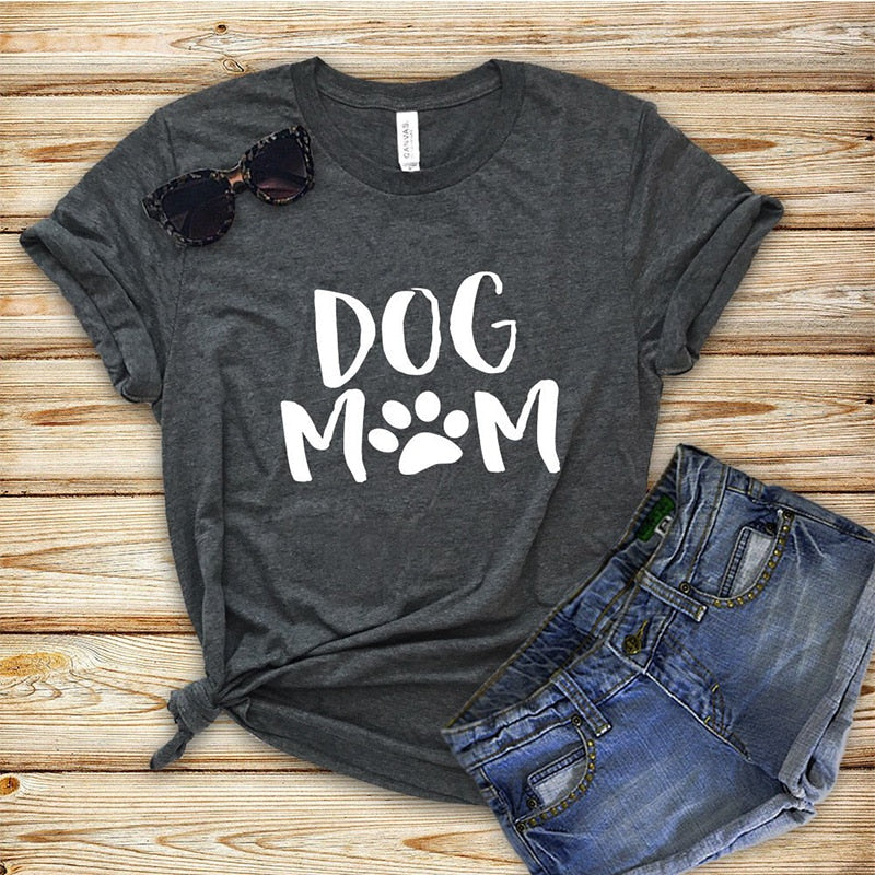 Dog Mom T-Shirt with Paw Short Sleeve