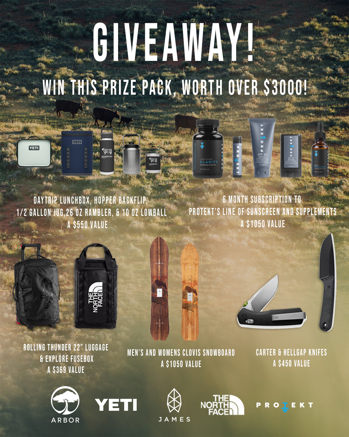 GIVEAWAY! Win $3000 in gear from YETI, The North Face, Arbor Snowboards, Protekt Products, and The James Brand.