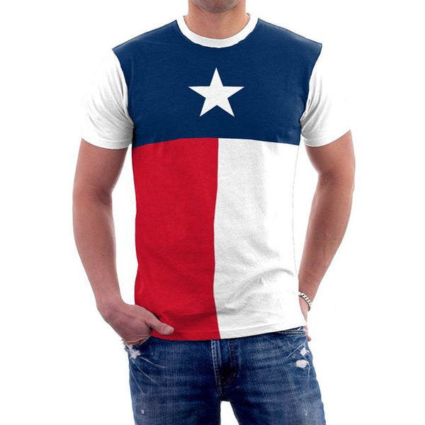 Texas Flag Lone Star State Men's T-Shirt 100% Cotton Red White Blue