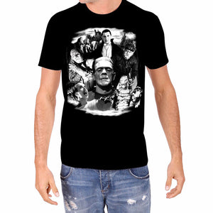 Frankenstein Dracula Glow in the Dark Monster Collage Rock Rebel Men's T-Shirt