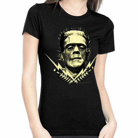 Frankenstein Bolts Glow In The Dark Rock Rebel Licensed Woman's T-Shirt