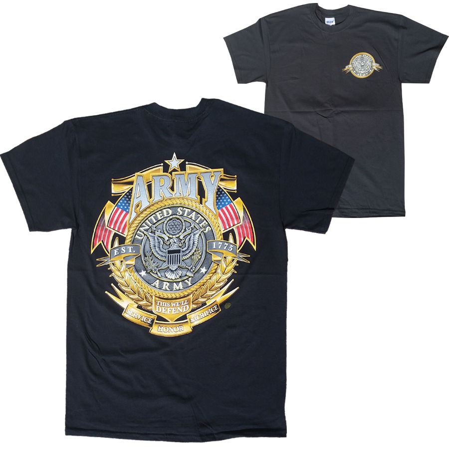 US Army USA Gold Shield American Flag This We'll Defend Men's T-Shirt