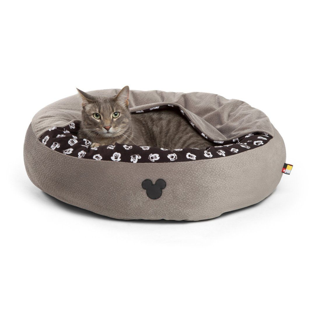 Disney Mickey Mouse Logo Cozy Cuddler – Dog Bed – Cat Bed – Small Gray 22""