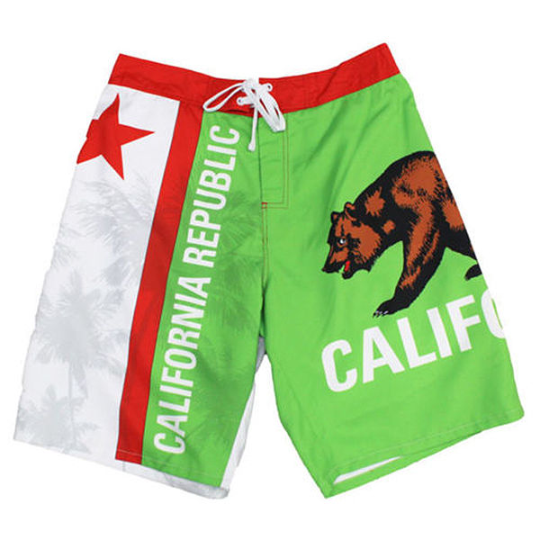 California Republic State Flag Men's Beach Pool Vacation Shorts Swim Trunks Board Shorts