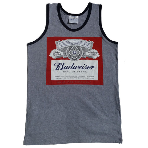 Budweiser King Of Beers Men's Tank Top Gray - Navy Trim