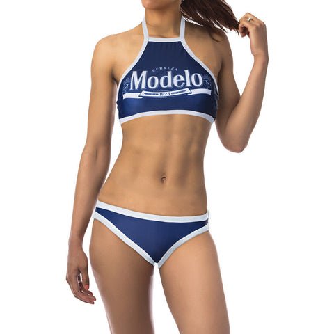 Modelo Cerveza Sporty Halter Top Women's 2 Piece Bikini Swimsuit