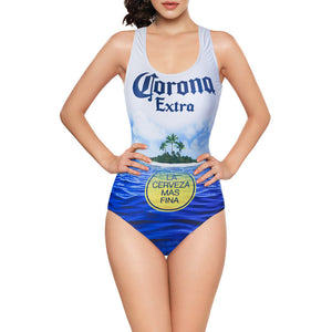 Corona Extra - La Cerveza Mas Fina Beach Scene - Women's One Piece Beach Pool Bathing Suit Swimsuit