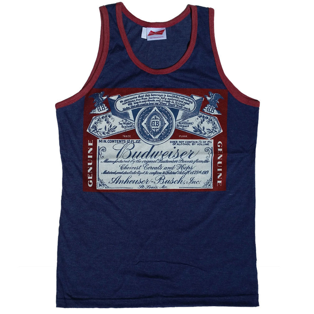 Budweiser Beer Classic Distressed Prohibition Label Licensed Men's Tank Top