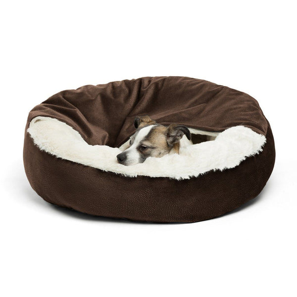 Best Friends by Sheri Cozy Cuddler - Dog Bed - Cat Bed - Dark Brown Small 24""