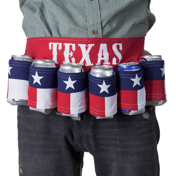 Texas Flag - Lone Star State - Red White Blue Adjustable 6 Pack Beer Belt