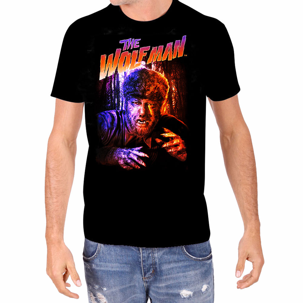 Wolfman-In-Color-Lon-Chaney-Universal-Monsters-Rock-Rebel-Licensed-Men-039-s-T-Shirt