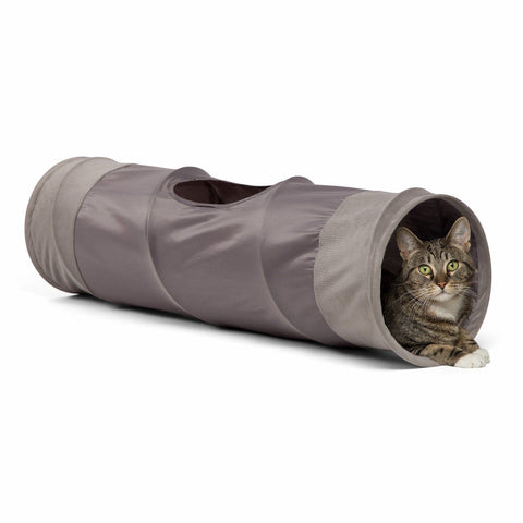 "Best Friends by Sheri Cat Tunnel with Toy - Ilan Oxford Gray - 36"" x 10"""