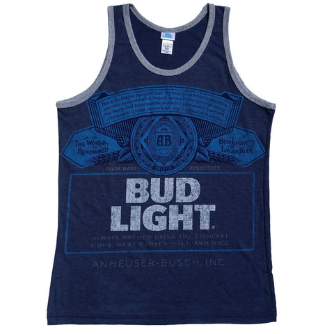 Budweiser Bud Light Distressed Logo Licensed Men's Tank Top