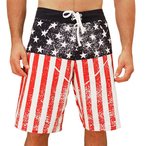 USA American Flag Stars And Stripes Men's Beach Pool Lake Vacation Board Shorts Swim Trunks