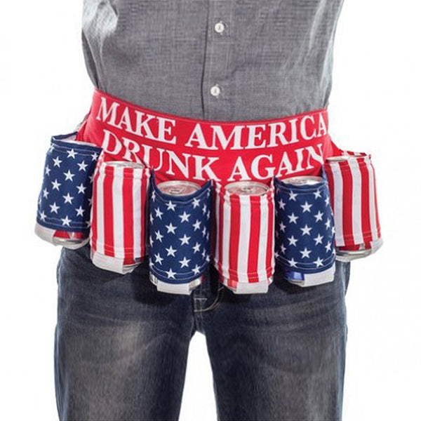 Make America Drunk Again - American Flag Adjustable 6 Pack Beer Belt