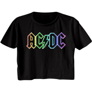 AC/DC - Rainbow Logo - Black Ladies Short Sleeve Festival Cali Crop T-Shirt - Coastline Mall