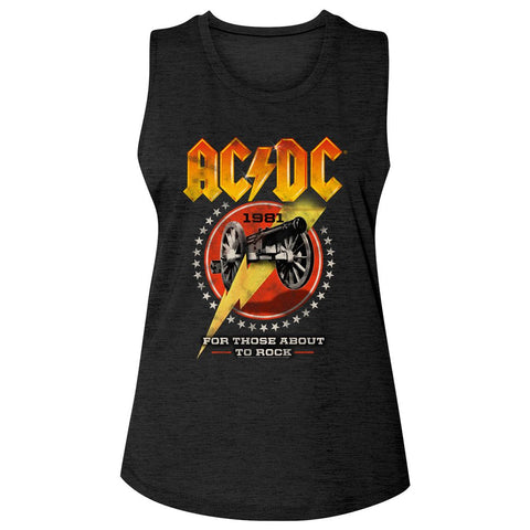 ACDC-Cannon Lightning-Black Ladies Slub Sleeveless Crew Neck Tee