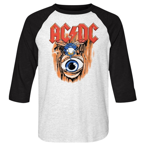 ACDC-Vintage Fly On Wall-White Heather/Vintage Black Adult 3/4 Sleeve Raglan