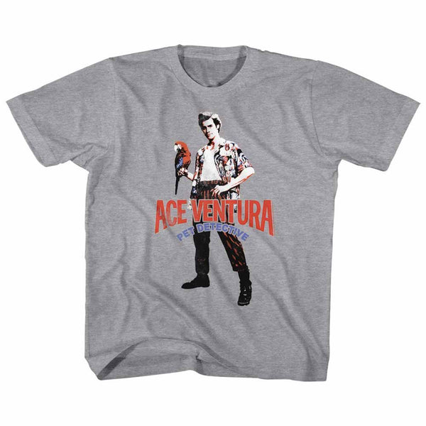 Ace Ventura-Red Black Blue Ace-Gray Heather Toddler-Youth S/S Tshirt - Coastline Mall
