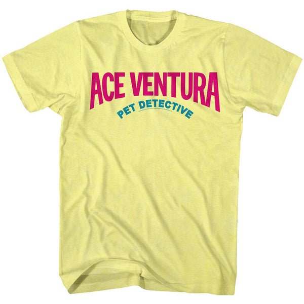 Ace Ventura-Logo 90S Colors-Yellow Heather Adult S/S Tshirt - Coastline Mall
