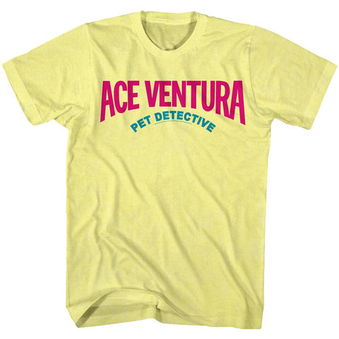 Ace Ventura-Logo 90S Colors-Yellow Heather Adult S/S Tshirt