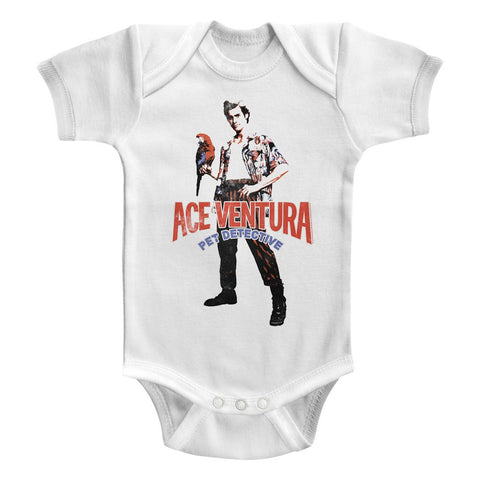 Ace Ventura-Red Black Blue Ace-White Newborn S/S Bodysuit