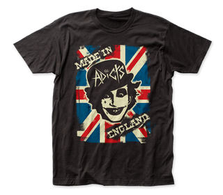 The Adicts Made in England Logo Black Short Sleeve Soft Slim Fit Unisex Jersey T-Shirt tee - Coastline Mall