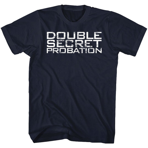 Animal House-Double Secret Probation-Navy Adult S/S Tshirt - Coastline Mall