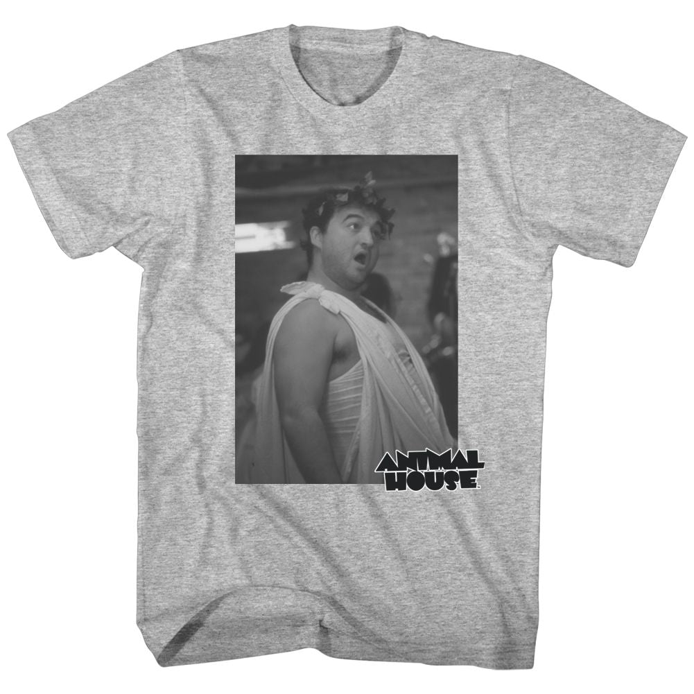 Animal House-Toga Photo-Gray Heather Adult S/S Tshirt