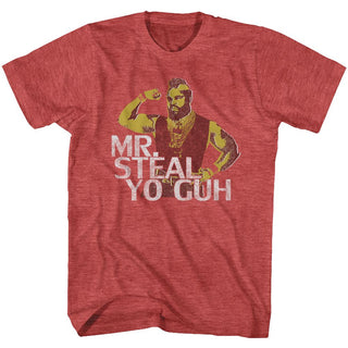 Mr. T-Mr. Steal Yo Guh-Red Heather Adult S/S Tshirt - Coastline Mall